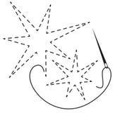Silhouetten van twee sterren met onderbroken contour Vectorillustratie van het met de hand gemaakte werk met borduurwerkdraad en  stock illustratie
