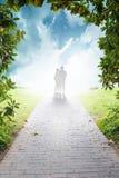 Silhouetten van twee toeristen reis concept stock foto