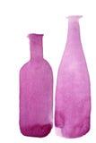 Silhouetten van twee wijnflessen Royalty-vrije Stock Foto