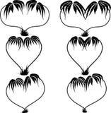 Silhouetten van verscheidene soorten palmen op een geïsoleerd wit Royalty-vrije Stock Afbeeldingen