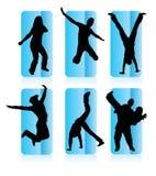 Silhouetten van verschillende mensen Stock Fotografie