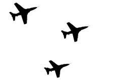 Silhouetten van vliegtuigen Stock Fotografie