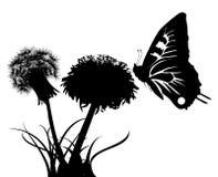 Silhouetten van vlinder en twee paardebloemen Stock Foto