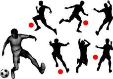 Silhouetten van voetballers. Royalty-vrije Stock Fotografie