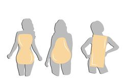 Silhouetten van vrouwen door type van cijfer Vector illustratie stock foto's