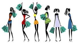 Silhouetten van vrouwen met het winkelen royalty-vrije illustratie