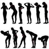 Silhouetten van vrouwen met verschillende pijn Stock Fotografie