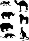 Silhouetten van wilde dieren Royalty-vrije Stock Foto