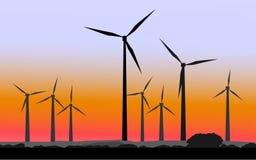 Silhouetten van windmolens royalty-vrije illustratie