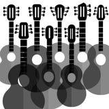 Silhouettengitaren Stock Afbeeldingen