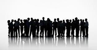 Silhouettengroep het Bedrijfsmensen Werken Stock Afbeelding