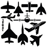 Silhouettenvliegtuig Royalty-vrije Stock Afbeelding