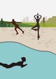 silhouettes åker skridskor slankt barn för badkvinnayoga Royaltyfri Fotografi