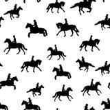 Silhouettes équestres noires sur le fond blanc illustration libre de droits