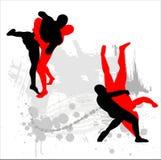 silhouettes борцы Стоковые Изображения