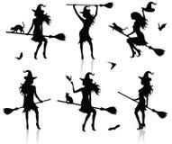 silhouettes ведьма Стоковые Изображения