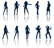 silhouettes женщины Стоковое Фото