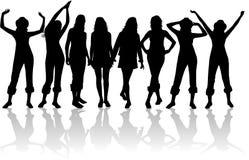 silhouettes женщины Стоковые Изображения RF