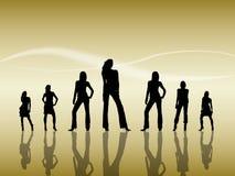 silhouettes женщины Стоковые Изображения