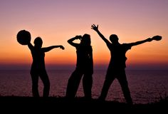 silhouettes заход солнца Стоковые Изображения