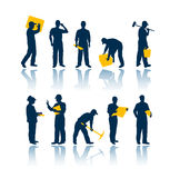 silhouettes работники Стоковая Фотография RF
