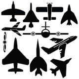Silhouettes самолет Стоковое Изображение RF