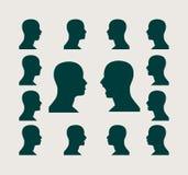 Silhouettes собрание man& x27; голова s Стоковое Фото