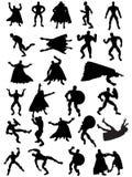 silhouettes супергерой Стоковые Изображения RF