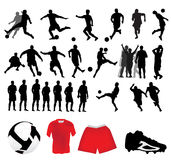 silhouettes футбол Стоковые Фотографии RF