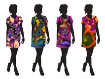 Silhouettes. Four of the silhouette of a girl with a fractal fill dresses Stock Images