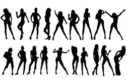 Silhouettes. Several silhouettes of a party girls and women Stock Image