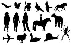 Silhouettes. Of different animals and people stock illustration