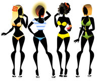 Silhouettes of 4 women in bikini Stock Photo