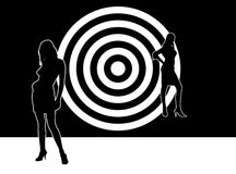 Silhouettes. Two abstract silhouettes on round background Royalty Free Stock Photography