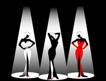 Silhouettes. Of three beautiful singers on a scene Royalty Free Illustration