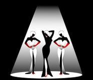 Silhouettes. Of three beautiful singers on a scene Stock Illustration
