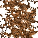 Silhouettes of abstract brown flowers on white background. stock illustration