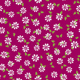 Silhouettes of abstract flowers and leaves. Simple seamless flower pattern. Colorful endless background. Purple, green, white. Vector illustration Stock Photography