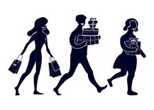Silhouettes of abstract people with purchases and gifts. Going happy buyers. royalty free illustration