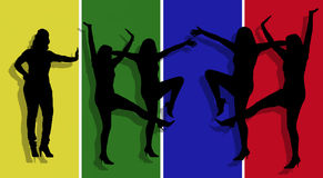 Silhouettes of Active Women Stock Photography