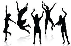 Silhouettes actives heureuses de femmes illustration de vecteur
