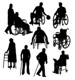Silhouettes Activity People with Disabilities Stock Image