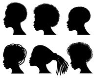 Silhouettes afro-américaines de noir de vecteur de visage de jeune femme Images libres de droits