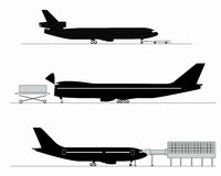 Silhouettes of aircraft Royalty Free Stock Photography