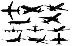 Silhouettes of Airplanes Royalty Free Stock Photo