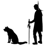 Silhouettes of an American Indian with his dog Stock Photos