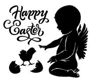 Silhouettes angel and baby chick Happy Easter. Silhouettes angel and baby chick with `Happy Easter` text Royalty Free Stock Images