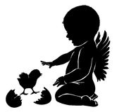 Silhouettes angel baby and Easter chick.  Royalty Free Stock Photo