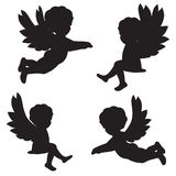 Silhouettes of angels Stock Images