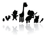 Silhouettes animals Royalty Free Stock Photo